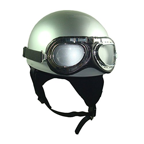 Goggles Vintage German Style Half Helmet (silver,one Size(56-58cm) : Ear Muffle Bike Racing Motorcycle Cruiser