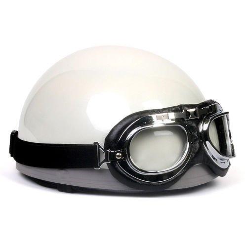 Vintage Scooter Motorcycle Half Helmet Solid White L