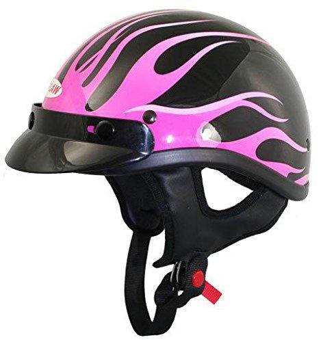 Outlaw T70 DOT Black Pink Flames Half Helmet With Visor - Medium