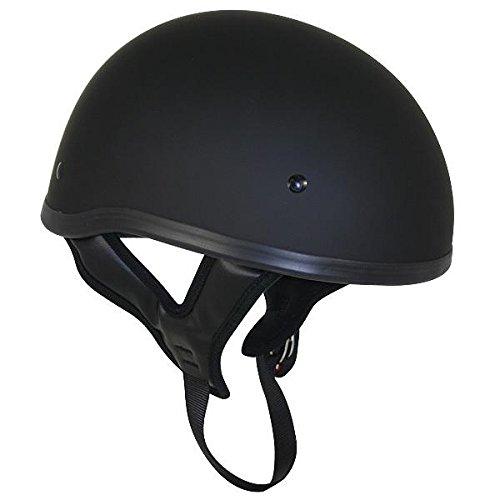 Outlaw T68 DOT Flat Black Motorcycle Skull Cap Half Helmet - Medium