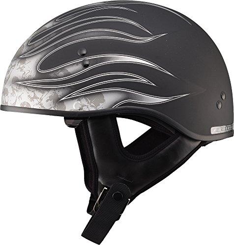 Gmax GM65 Skull Flame Naked Half Helmet Flat BlackDark Silver X-Large
