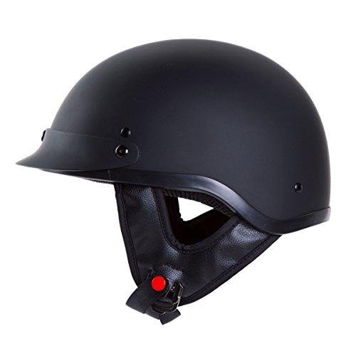 IV2 Chopper Cruiser Beanie Half Helmet MatteFlat Black Motorcycle Helmet DOT L