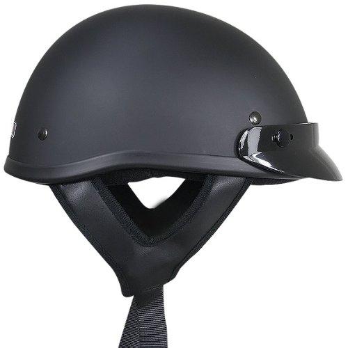 Outlaw T70 DOT Solid Flat Black Half Helmet - Small