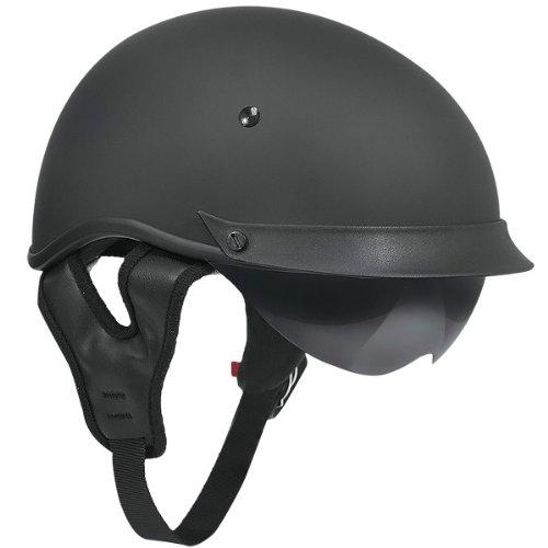 Outlaw T-72 Matte Black Dual-Visor Motorcycle Half Helmet - Large
