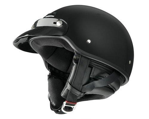 Raider Deluxe Half Helmet Gloss Black Large