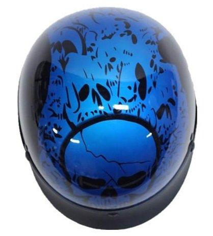 Dot Blue Boneyard Motorcycle Half Helmet With Skulls (size S, Sm, Small)