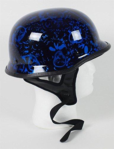 Dot German Bone Yard Skull Blue Motorcycle Half Helmet 103byb   Xxl