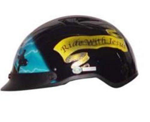 Dot Vented Blue Cross Christian Motorcycle Half/beanie Helmet-l