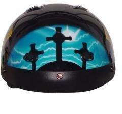 Dot Vented Blue Cross Christian Motorcycle Half/beanie Helmet-m