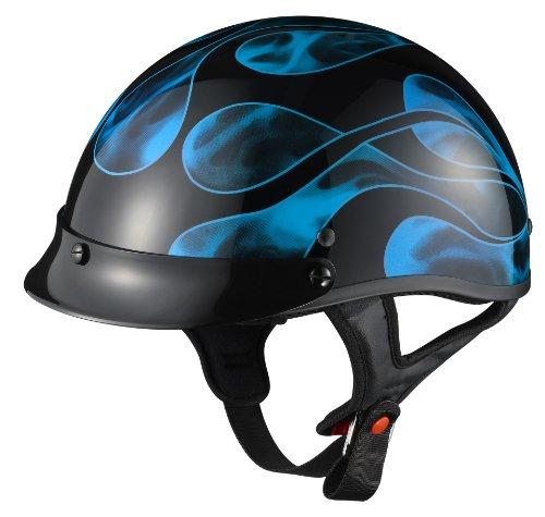 Glx Blue Flame Motorcycle Half Helmet (small)