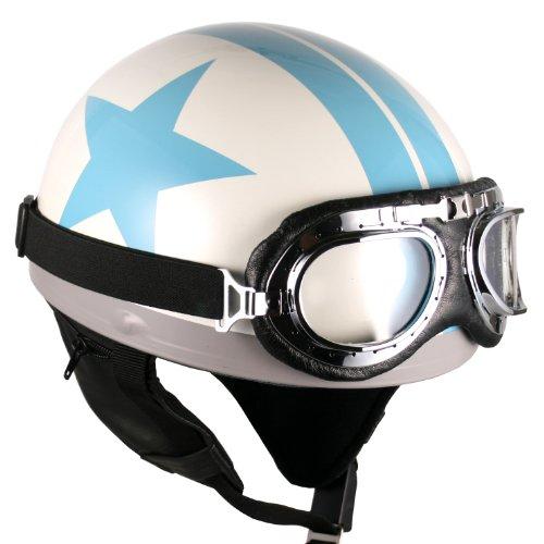 Goggles Vintage German Style Half Helmet (white Blue-star , Large) Motorcycle Biker Cruiser Scooter Touring Helmet