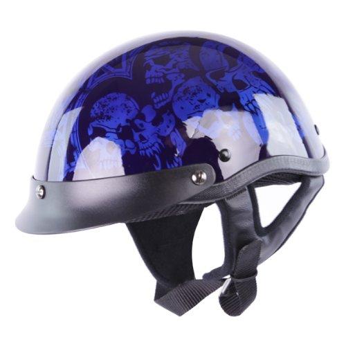 Half Helmets - Hci-100 Blue Screaming Skulls Half Helmet M