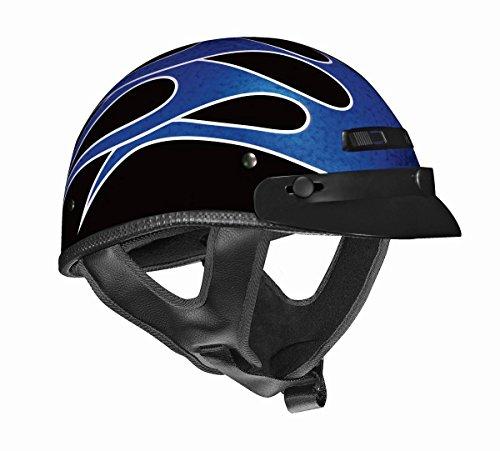 Vega Xts Flame Half Helmet (bright Blue/metallic Silver, X-large)