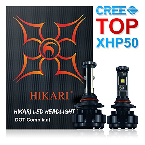 HIKARI LED Headlight Bulbs Conversion Kit -9012HIR2Top CREE XHP50 9600lm 6K Cool White3 Yr Warranty