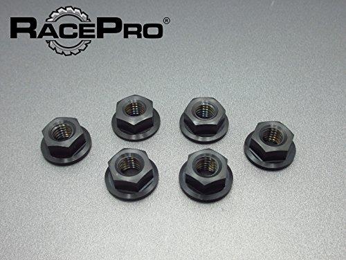 RacePro - Triumph Tiger 955i 2004 x6 Titanium Rear Sprocket Nuts -Black
