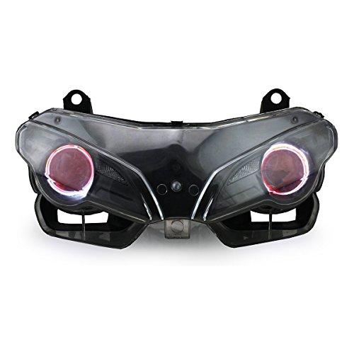 KT LED Angel Eye Headlight Assembly for Ducati Superbike 1198 2009-2011 Red Demon Eye
