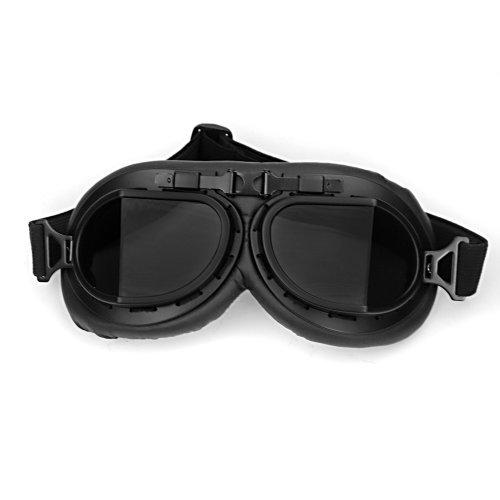 Astra Depot WWII RAF Vintage Pilot Style Black Frame Motorcycle Café Racer Cruiser Touring Helmet Goggles