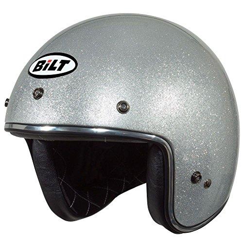 CUSTOM BILT Vintage Jet Cruiser Metallic Open-Face Motorcycle Helmet - XL Silver Flake