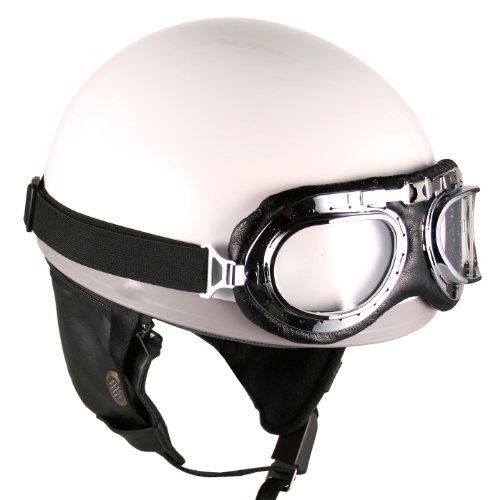 Goggles Vintage German Style Half Helmet White Large Motorcycle Biker Cruiser Scooter Touring Helmet