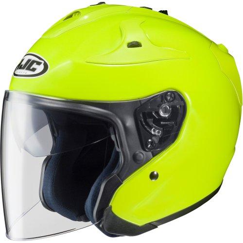 HJC Metallic FG-JET 34 Open Face Motorcycle Helmet - Hi-Visibilty Yellow  Large