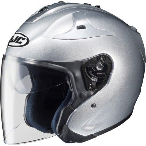 HJC Metallic FG-JET 34 Open Face Motorcycle Helmet - Silver  Medium