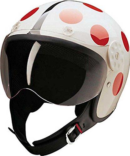 HCI Open Face Fiberglass Motorcycle Helmet - WhiteRed Ladybug 15-230 Medium