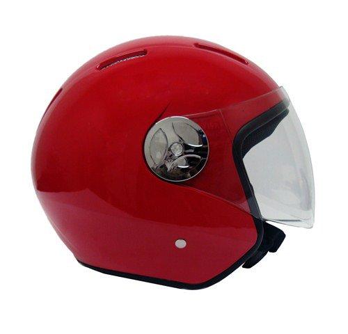 Motorcycle Scooter Open Face Helmet PILOT Flip Up Visor DOT - RED Medium