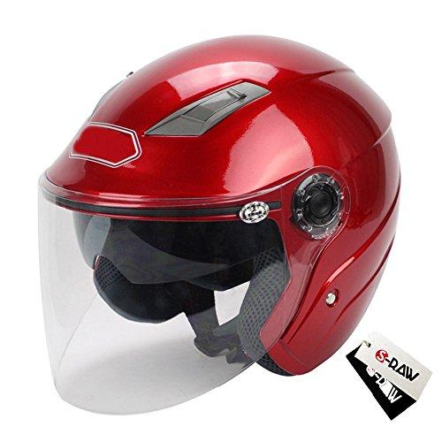 S-Raw Dual Lens Helmet DOT Motorcycle Helmet 34 Open Face Helmet Scooter Helmet Red Medium
