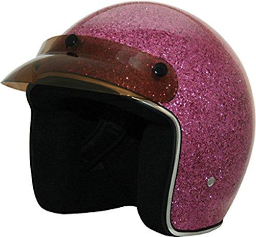 Pink Glitter Open Face DOT Motorcycle Helmet XL