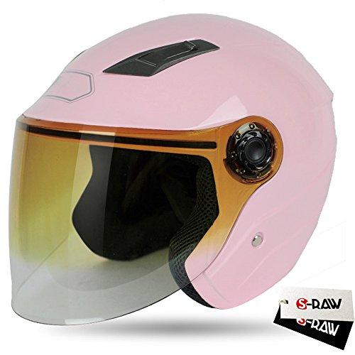 S-Raw DOT Motorcycle Helmet 34 Open Face Helmet with Shield Visor Scooter Helmet Light Pink Small