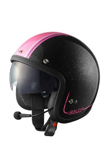 Sniper Womens AR15 Bluetooth Open Face Helmet with Pink Stripe and Retractable Shield Gloss Black Medium