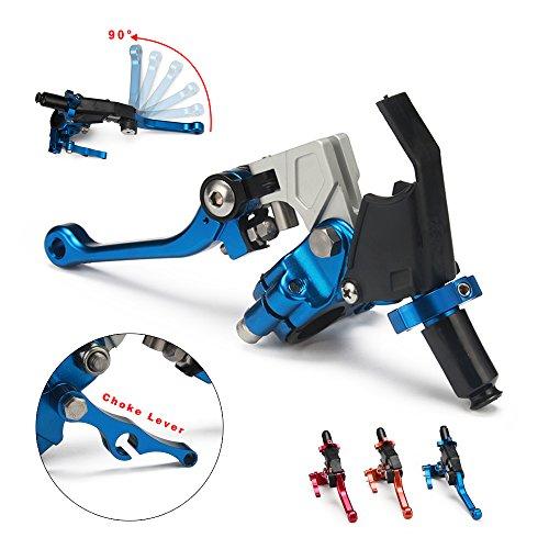 JFG RACING Blue Adjustable Folding Extendable Clutch Perch Foldable Lever Assembly for Suzuki Yamaha Honda Kawasaki Cable Clucth WR250F TTR125 RMZ250 RM65 KLX450R CRF150F CR80