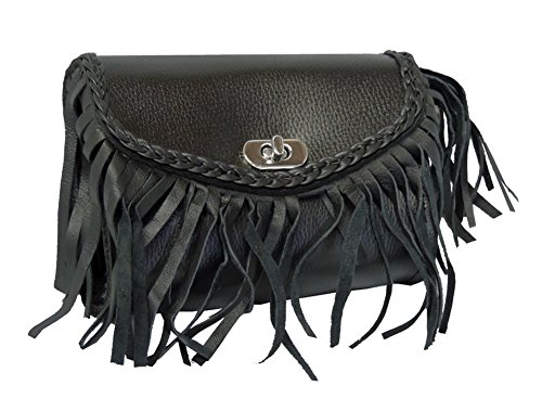 Braided PVC Small Motorcycle Windshield Tool Gear Bag w Fringe