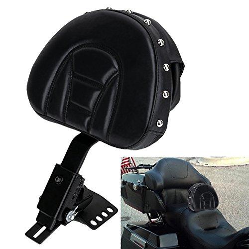 E-Most New Plug-In Rivet Driver Rider Backrest  Bracket Leather Pad Black Detachable Adjustable Custom Made For 1997-2017 Harley Davidson Touring Models