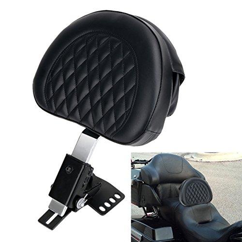 E-Most Plug-In Diamond Stitching Driver Rider Backrest Chrome Detachable Adjustable Bracket&Leather Pad for 1997-2017 Harley Davidson Touring models