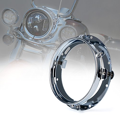 Xprite 7 Inch Chrome Round Headlight Ring Mounting Bracket for Harley Davidson Headlight Mount