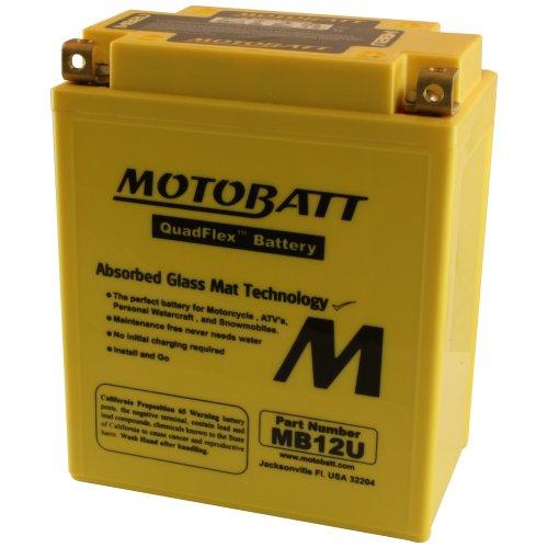 MotoBatt MB12U 12V 15 Amp 160CCA Factory Activated QuadFlex AGM Battery