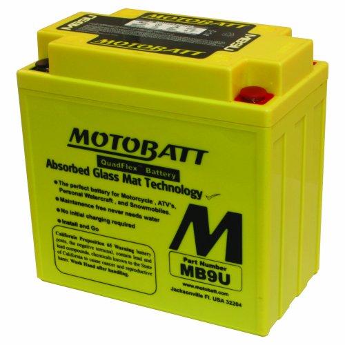 MotoBatt MB9U 12V 11 Amp 140CCA Factory Activated QuadFlex AGM Battery