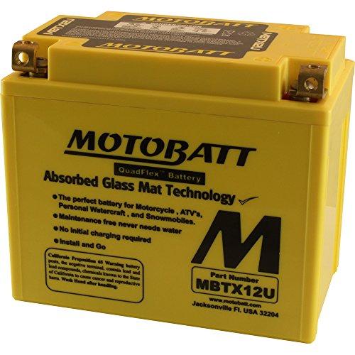 MotoBatt MBTX12U 12V 14 Amp 200CCA Factory Activated QuadFlex AGM Battery