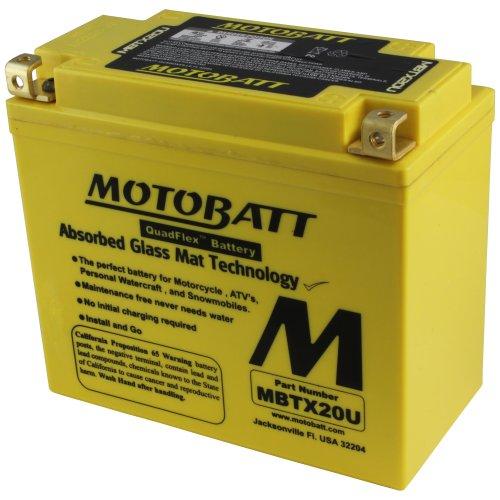 MotoBatt MBTX20U 12V 21 Amp 280CCA Factory Activated Maintenance Free QuadFlex AGM Battery