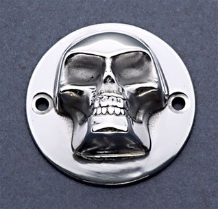 3D High Polished Skull ignition system cover Harley 2-Hole