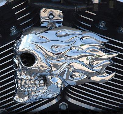 Chrome Harley Flaming Skull Horn Cover