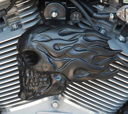 Harley Flaming Skull Horn Cover in Satin Black Powder Coat