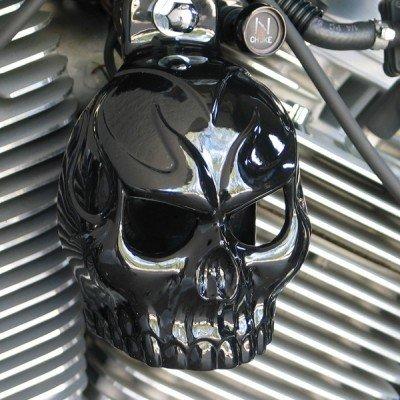 Harley Gloss Black Powder Coated Evil Twin Skull Horn Cover