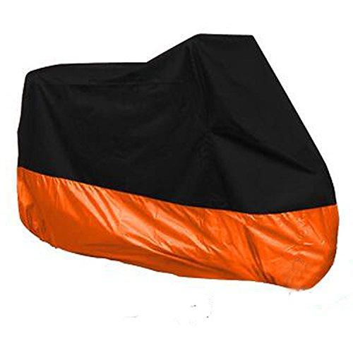 HANSWD Motorcycle Dust Cover Waterproof Uv Cover For Harley Davidson Yamaha Kawasaki Universal XXXL Black and Orange