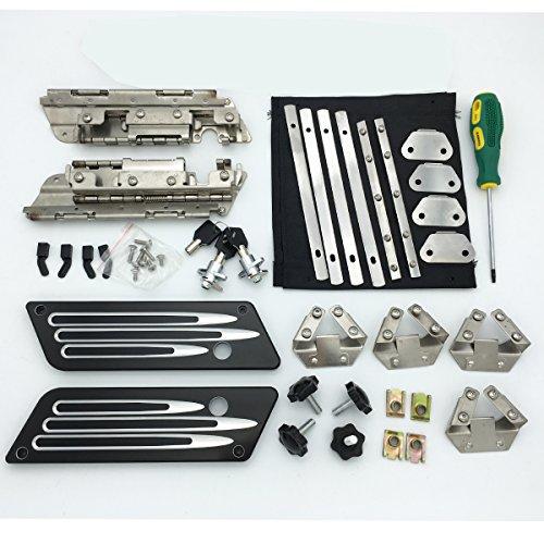 Saddlebag Hard Bag Hardware Hinges Kit Billet Aluminum Deep Cut Latch Cover for Harley Touring 1993-2013