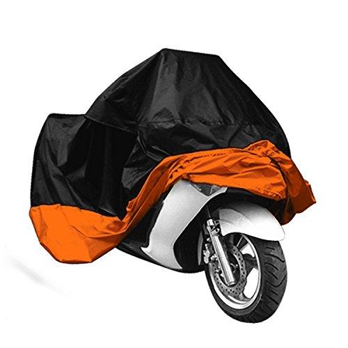 TESWME Waterproof Outdoor Cover Against Rain Dust for Harley Dyna Yamaha Honda Large-Black and OrangeXXXL