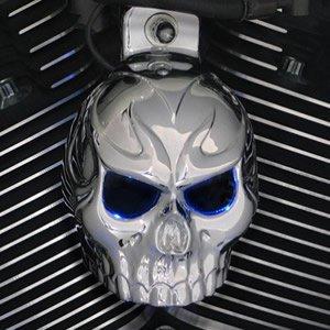 Harley Chrome Evil Twin Skull Horn Cover WBack Lit LED Eyes Red