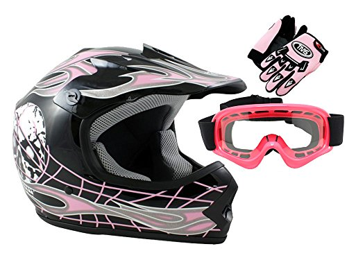 TMS Youth Kids Black Pink Skull Dirt Bike ATV Motocross Helmet with Goggles and Gloves Medium