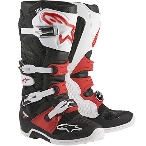 Alpinestars Adult MX Tech 7 Motocross Boots Black White Red Size 12